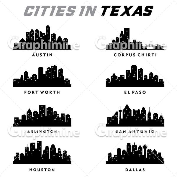 دانلود وکتور سایه شهرهای ایالت تگزاس