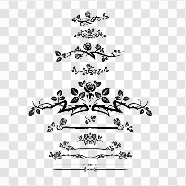 دانلود تصویر Png طرح حاشیه گل و بوته رز