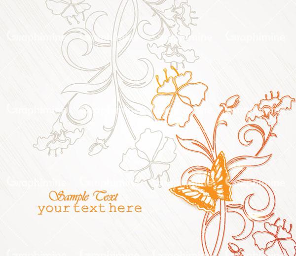 دانلود تصویر وکتور گل و پروانه