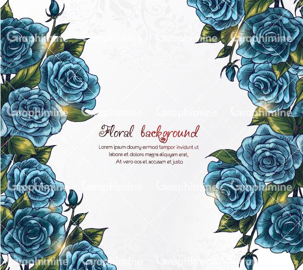 دانلود وکتور حاشیه گل آبی