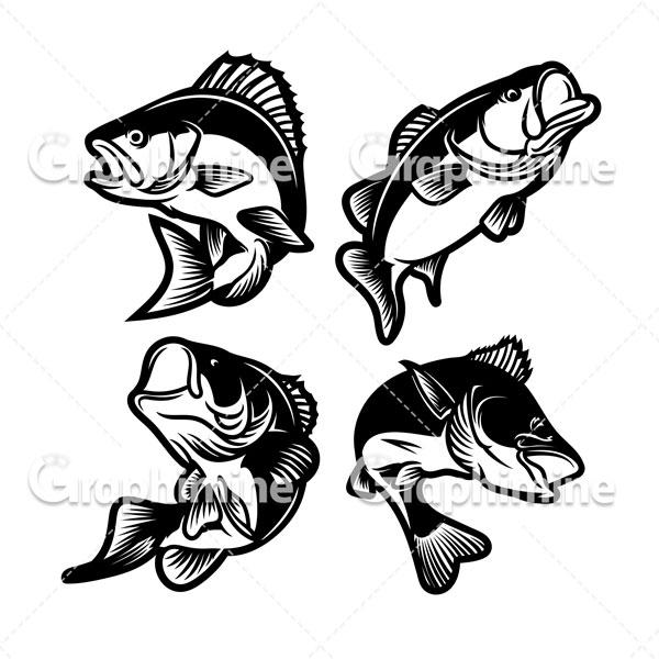 دانلود تصویر وکتور سیاه و سفید ماهی