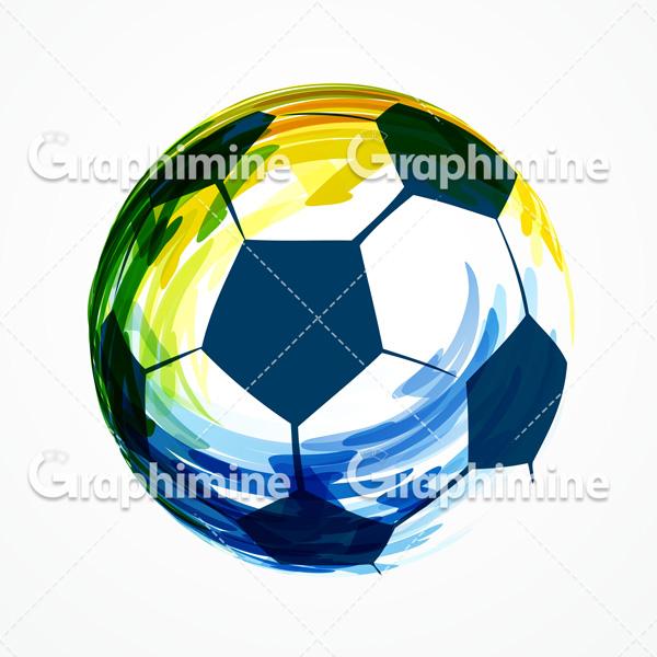 دانلود تصویر وکتور طرح گرافیکی آبرنگی توپ فوتبال