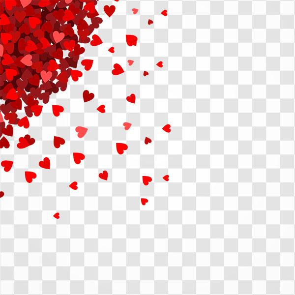 دانلود تصویر png پس زمینه قلب های قرمز ولنتاین