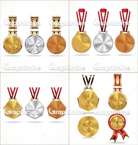 دانلود وکتور انواع مدالهای مسابقات
