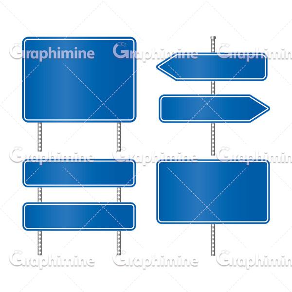 دانلود وکتور تابلوهای خام جاده ای آبی رنگ