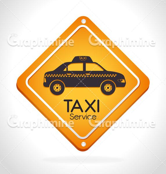 دانلود وکتور تابلو زرد ایستگاه تاکسی