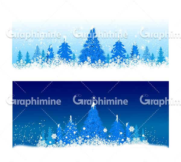 دانلود وکتور زمستان برف درخت کاج
