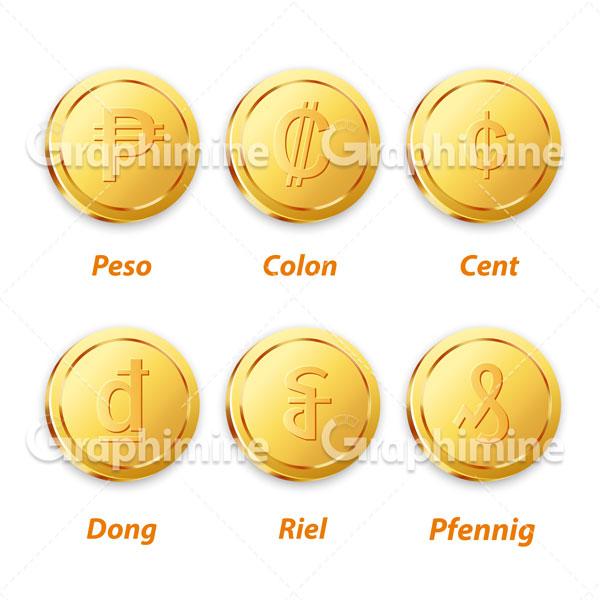دانلود وکتور سکه های طلایی ارزی ۱
