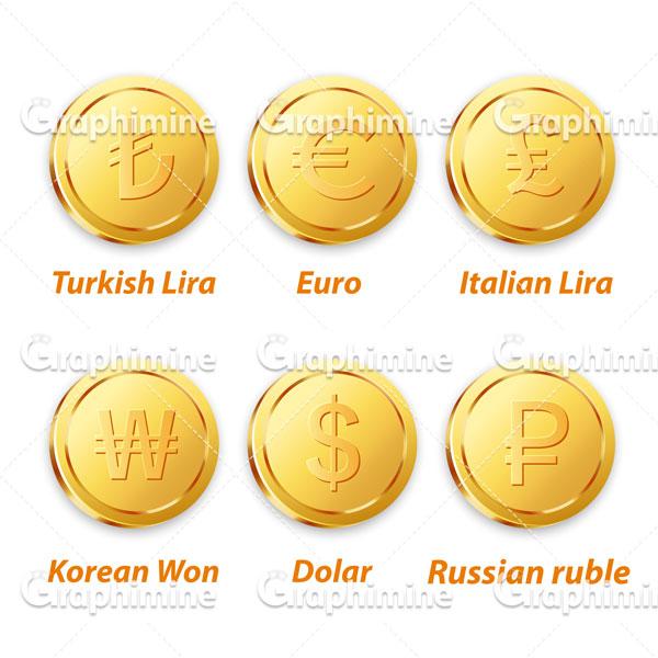 دانلود وکتور سکه های طلایی ارزی ۳
