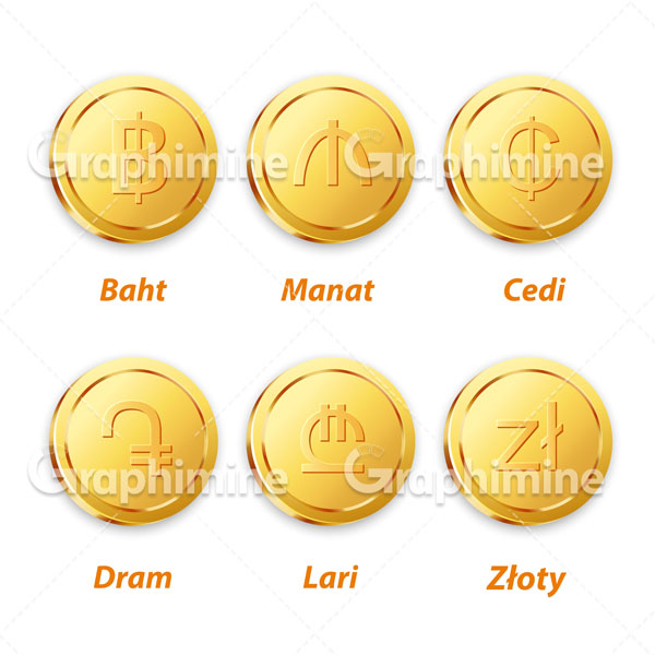 دانلود وکتور سکه های طلایی ارزی ۴