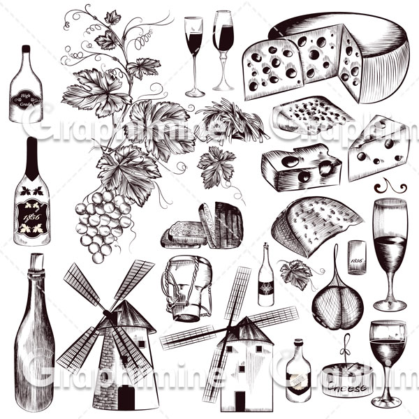دانلود وکتور طراحی غذاهای مختلف
