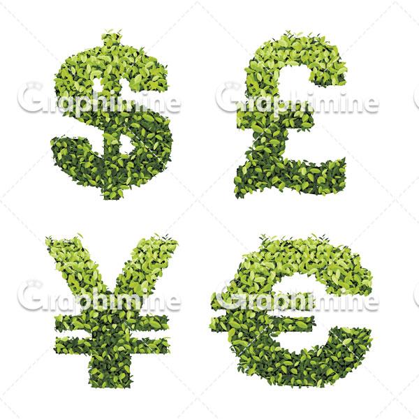 دانلود وکتور طرح برگ سبز نمادهای ارزی