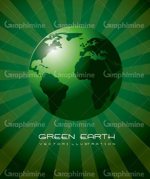 دانلود وکتور طرح سبز رنگ کره زمین