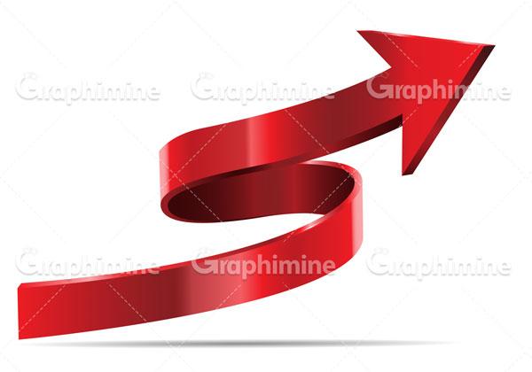 دانلود وکتور طرح سه بعدی فلش جهت دار قرمز