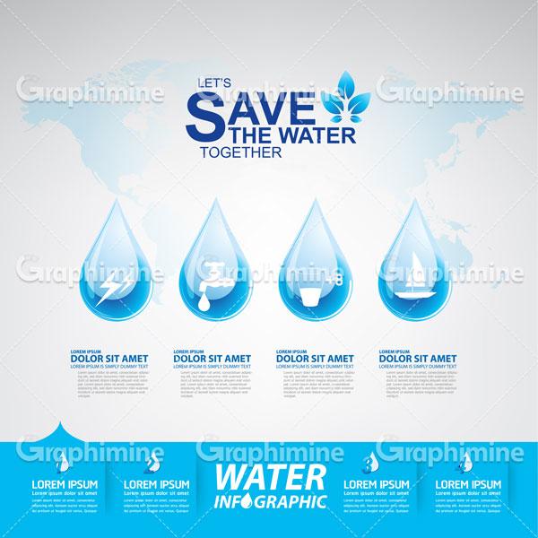 دانلود وکتور طرح قطره آب صرفه جویی آب