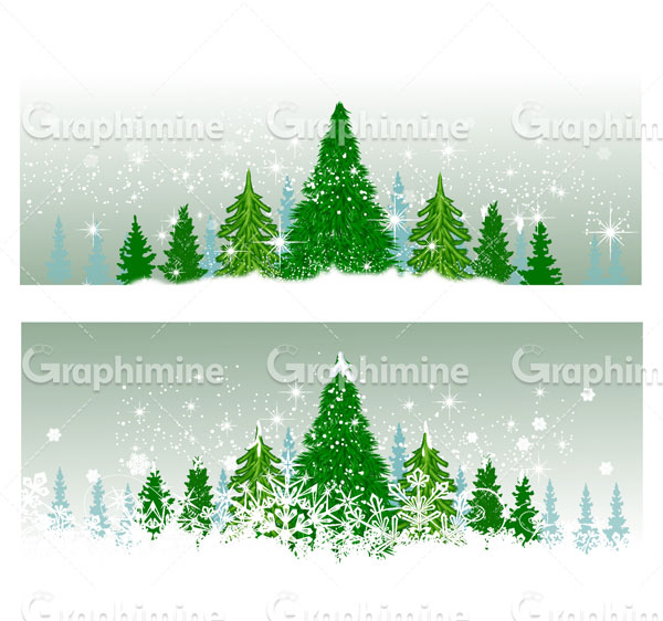 دانلود وکتور فصل زمستان درخت کاج
