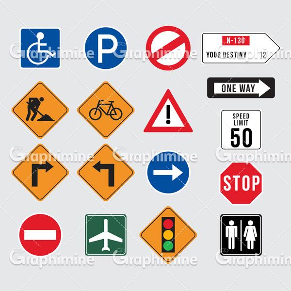 دانلود وکتور مجموعه تابلوهای ترافیکی