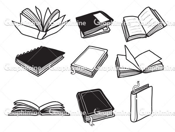 دانلود وکتور مجموعه کتاب سیاه و سفید