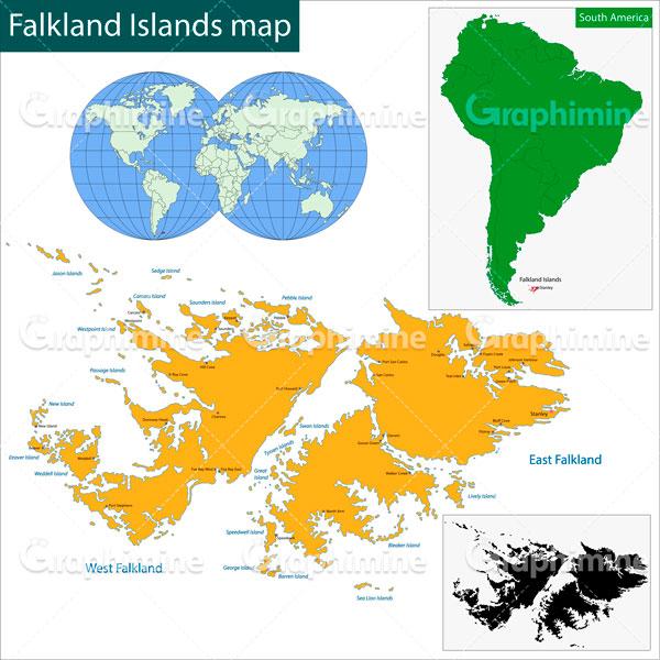 دانلود وکتور نقشه جزایر فالکلند