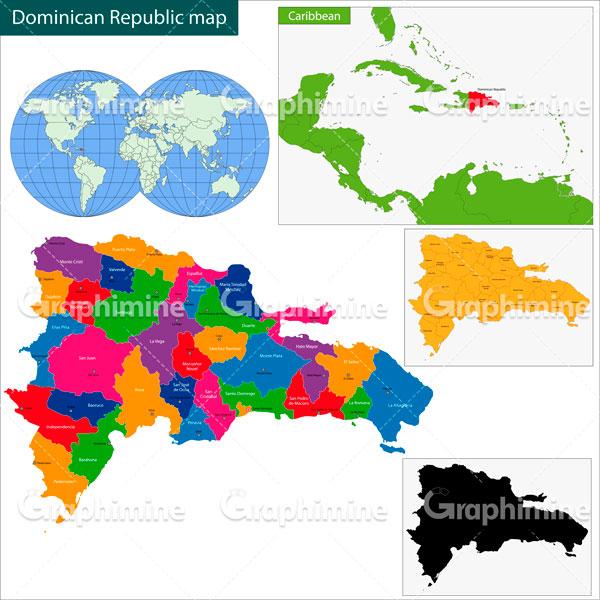 دانلود وکتور نقشه جمهوری دومینیکن