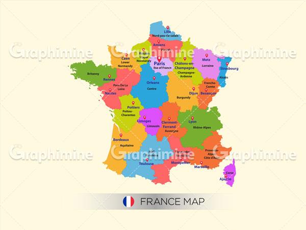 دانلود وکتور نقشه رنگی کشور فرانسه