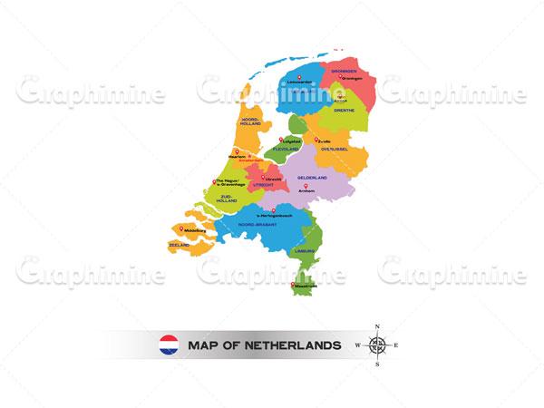 دانلود وکتور نقشه رنگی کشور هلند