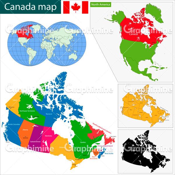 دانلود وکتور نقشه رنگی کشور کانادا