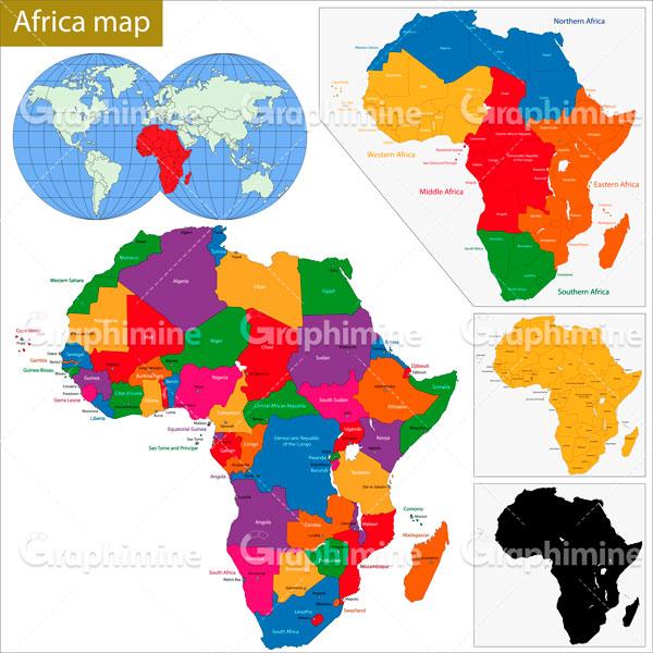 دانلود وکتور نقشه قاره آفریقا