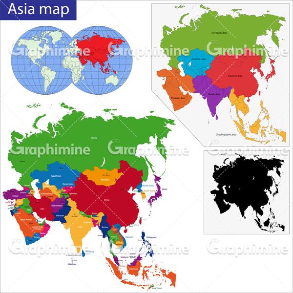 دانلود وکتور نقشه کشورهای آسیایی
