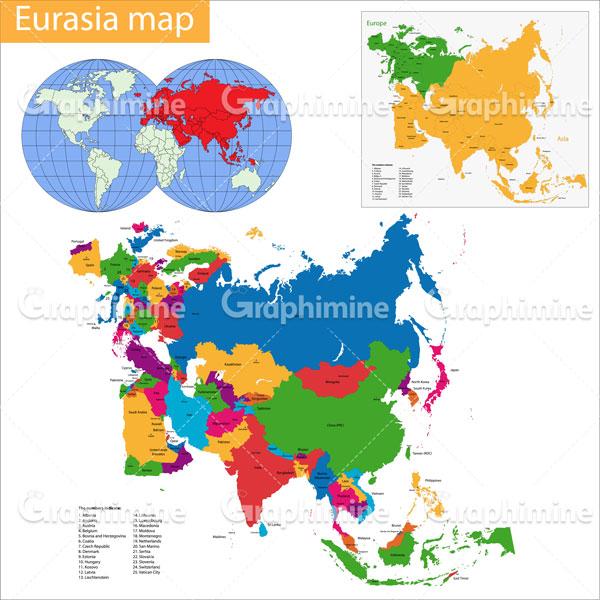دانلود وکتور نقشه کشورهای اوراسیا