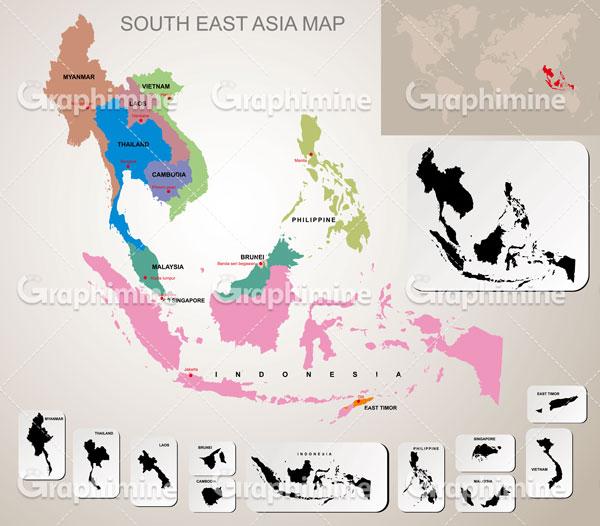 دانلود وکتور نقشه کشورهای جنوب شرق آسیا