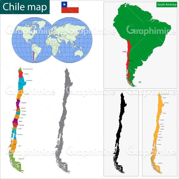 دانلود وکتور نقشه کشور شیلی