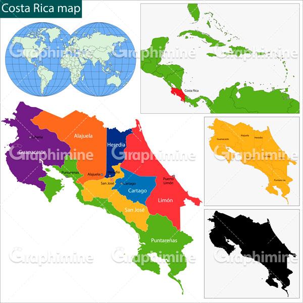 دانلود وکتور نقشه کشور کاستاریکا