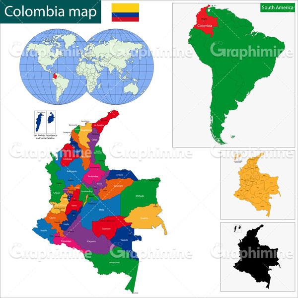 دانلود وکتور نقشه کشور کلمبیا