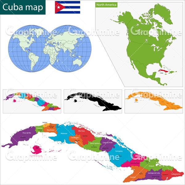 دانلود وکتور نقشه کشور کوبا