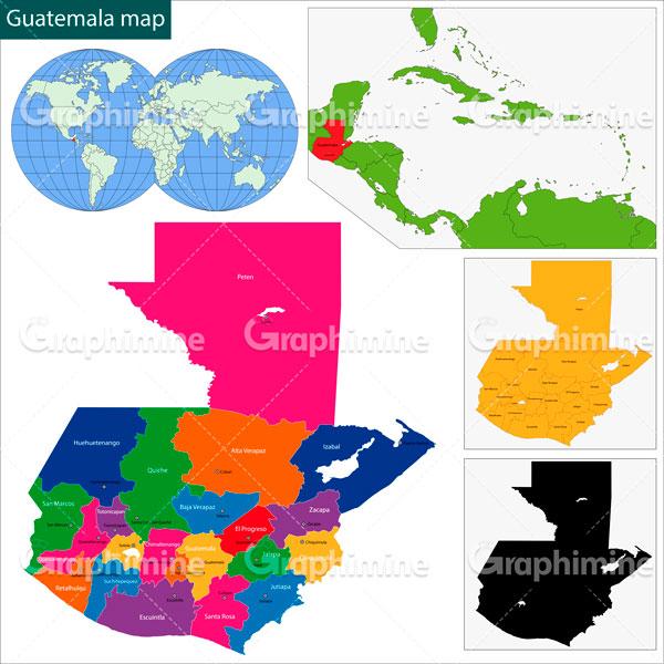 دانلود وکتور نقشه کشور گواتمالا