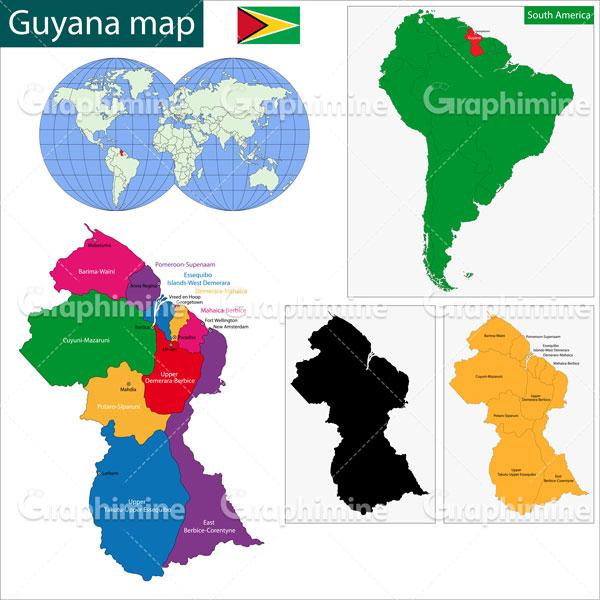 دانلود وکتور نقشه کشور گویان