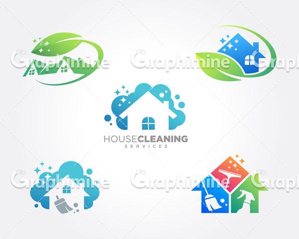 دانلود وکتور نمونه لوگو خدمات نظافت منزل