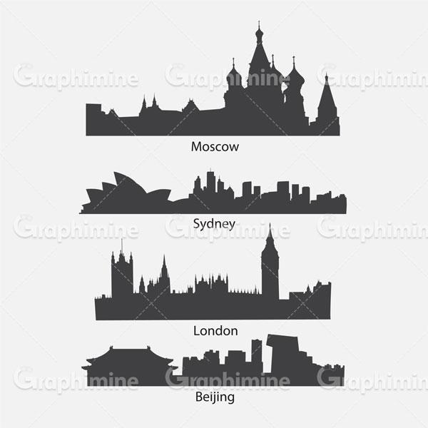 دانلود تصویر وکتور سایه شهرهای معروف