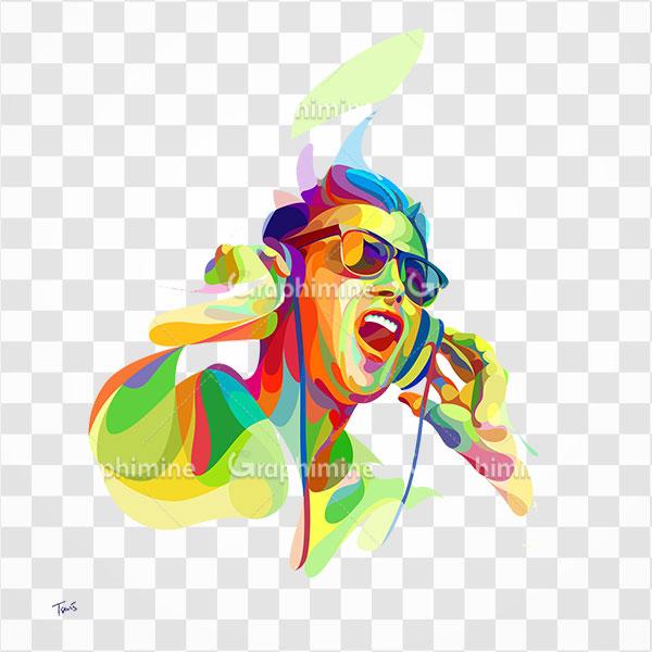 دانلود تصویر png طرح گوش دادن به موسیقی | تصویر دوربری شده گوش دادن موسیقی  با هدفون