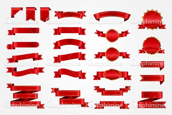 دانلود طرح وکتور مجموعه روبان های قرمز