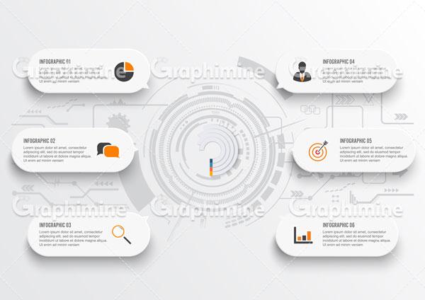 دانلود وکتور اینفوگرافیک ۶ مرحله ای اطلاعات کسب و کار