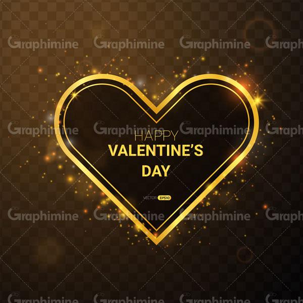 دانلود وکتور تبریک ولنتاین با فریم قلب طلایی