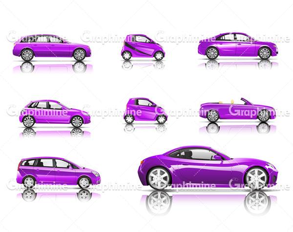 دانلود وکتور خودروهای مختلف بنفش