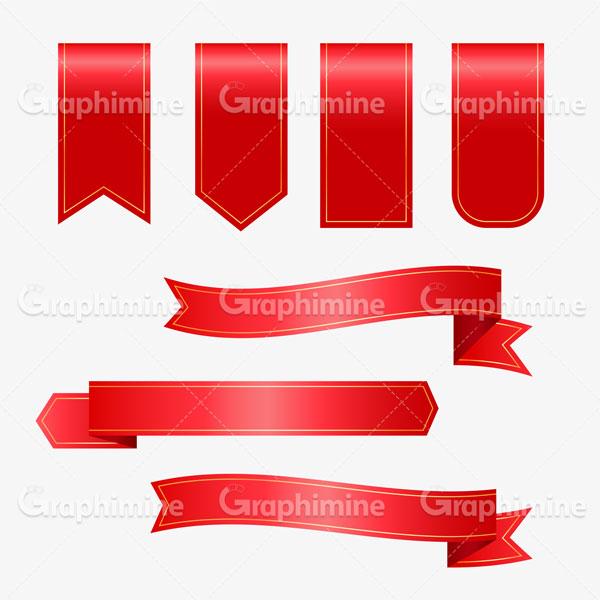 دانلود وکتور روبان و برچسب قرمز
