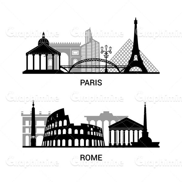 دانلود وکتور سایه شهرهای رم و پاریس