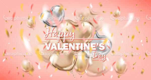 دانلود وکتور طرح بالون قلب ولنتاین مبارک ۱