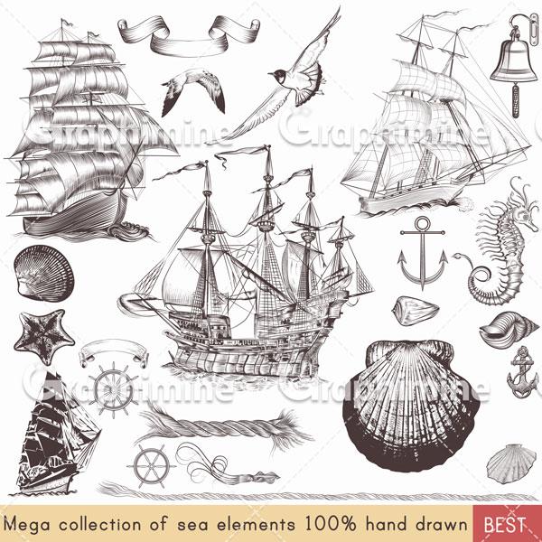 دانلود وکتور مجموعه کشتی و عناصر دریایی