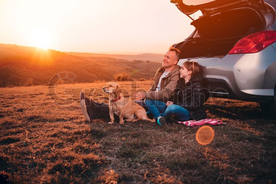 استوک غروب آفتاب و پدر و دختر