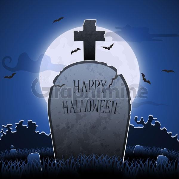 وکتور سنگ قبر شب هالووین